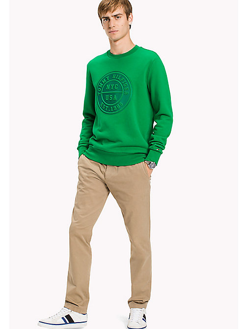 TOMMY HILFIGER Cotton Crew Neck Sweatshirt - JOLLY GREEN - TOMMY HILFIGER Sweatshirts - main image