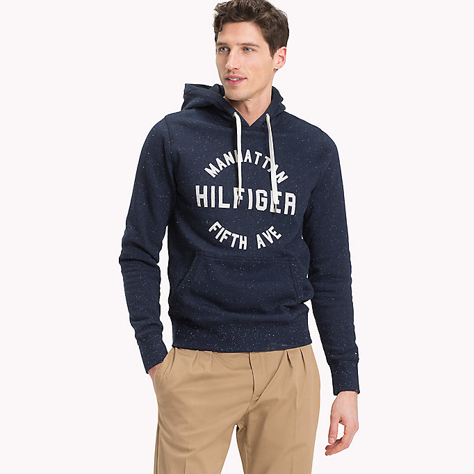 TOMMY HILFIGER Logo Print Hoodie - CHAMBRAY BLUE - TOMMY HILFIGER Men - main image