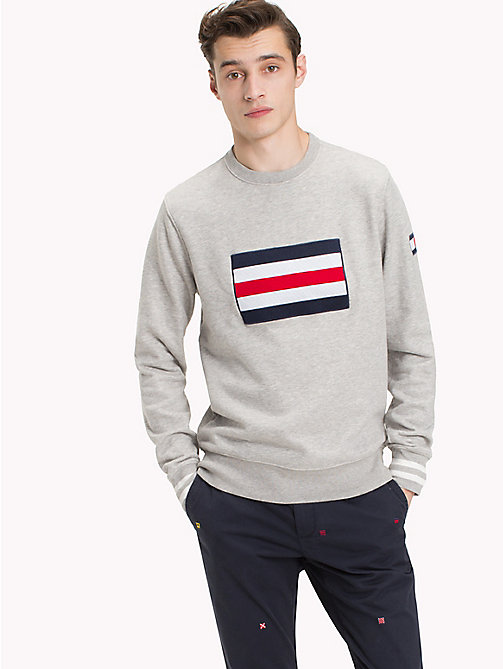 TOMMY HILFIGER Cotton Crew Neck Sweatshirt - CLOUD HTR - TOMMY HILFIGER NEW IN - main image