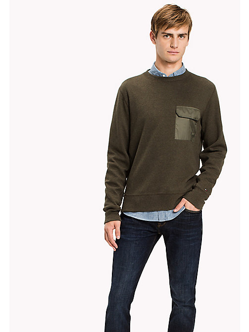 TOMMY HILFIGER Waffle Texture Crew Neck Sweatshirt - DEEP DEPTHS HEATHER - TOMMY HILFIGER Clothing - main image