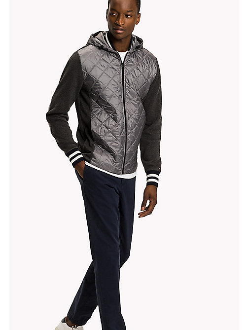 TOMMY HILFIGER Quilted Zip-Thru Hoodie - CHARCOAL HTR -  Sweatshirts & Hoodies - main image