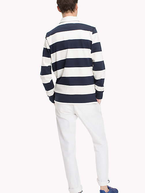 TOMMY HILFIGER Striped Rugby Shirt - NAVY BLAZER / SNOW WHITE - TOMMY HILFIGER Rugby shirts - detail image 1