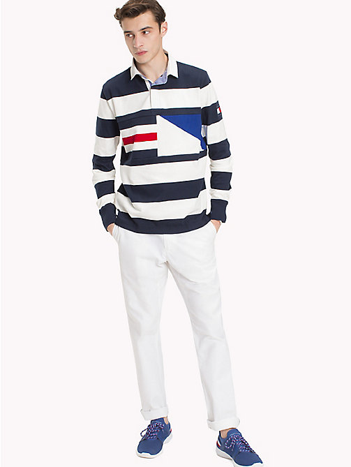 TOMMY HILFIGER Striped Rugby Shirt - NAVY BLAZER / SNOW WHITE - TOMMY HILFIGER Rugby shirts - main image