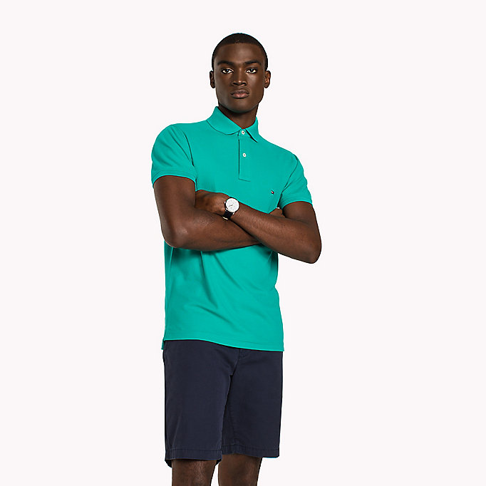 TOMMY HILFIGER Slim Fit Polo Shirt - POSY GREEN - TOMMY HILFIGER Clothing - main image