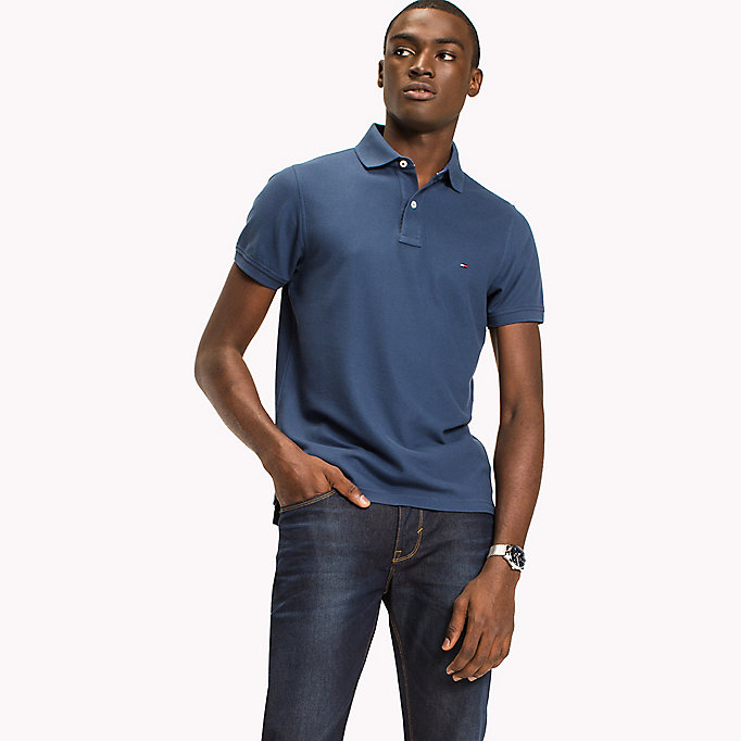 TOMMY HILFIGER Slim Fit Polo Shirt - SILVER FOG HTR - TOMMY HILFIGER Clothing - main image