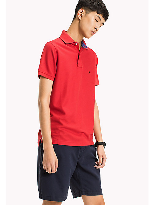 TOMMY HILFIGER Slim Fit Polo Shirt - HAUTE RED - TOMMY HILFIGER Clothing - main image