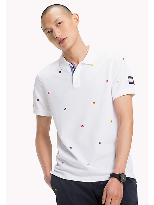TOMMY HILFIGER Slim fit polo met geborduurde vlaggen - BRIGHT WHITE - TOMMY HILFIGER T-Shirts & Polo's - main image