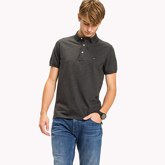 TOMMY HILFIGER Cotton Slim Fit Polo Shirt - FOUR LEAF CLOVER - TOMMY HILFIGER Men - main image