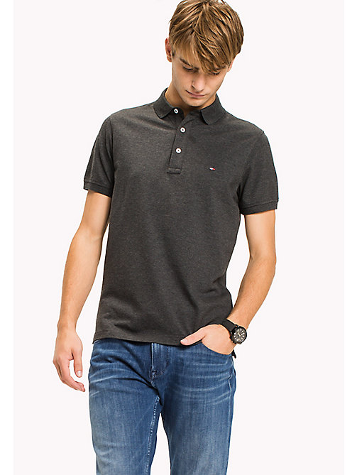 TOMMY HILFIGER Katoenen slim fit polo - CHARCOAL HEATHER - TOMMY HILFIGER T-Shirts & Polo's - main image