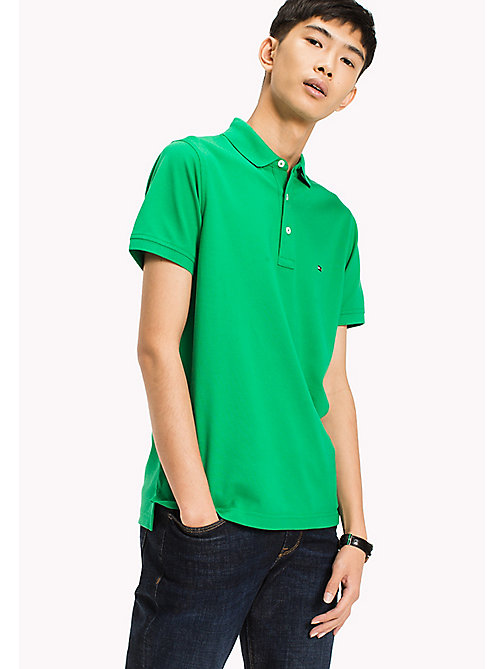 TOMMY HILFIGER Katoenen slim fit polo - JELLY BEAN - TOMMY HILFIGER T-Shirts & Polo's - main image