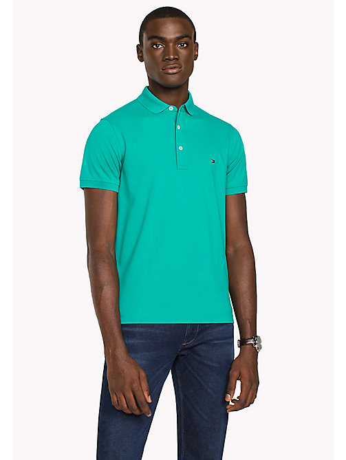 TOMMY HILFIGER Slim Fit-Polohemd aus Baumwolle - SPECTRA GREEN - TOMMY HILFIGER Poloshirts - main image