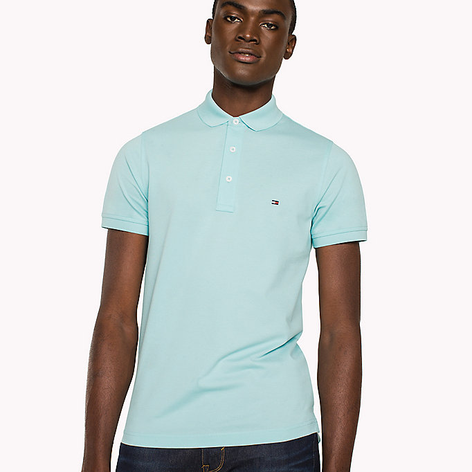 TOMMY HILFIGER Cotton Slim Fit Polo Shirt - MORNING GLORY - TOMMY HILFIGER Men - detail image 2