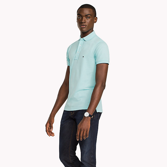 TOMMY HILFIGER Cotton Slim Fit Polo Shirt - MORNING GLORY - TOMMY HILFIGER Men - main image
