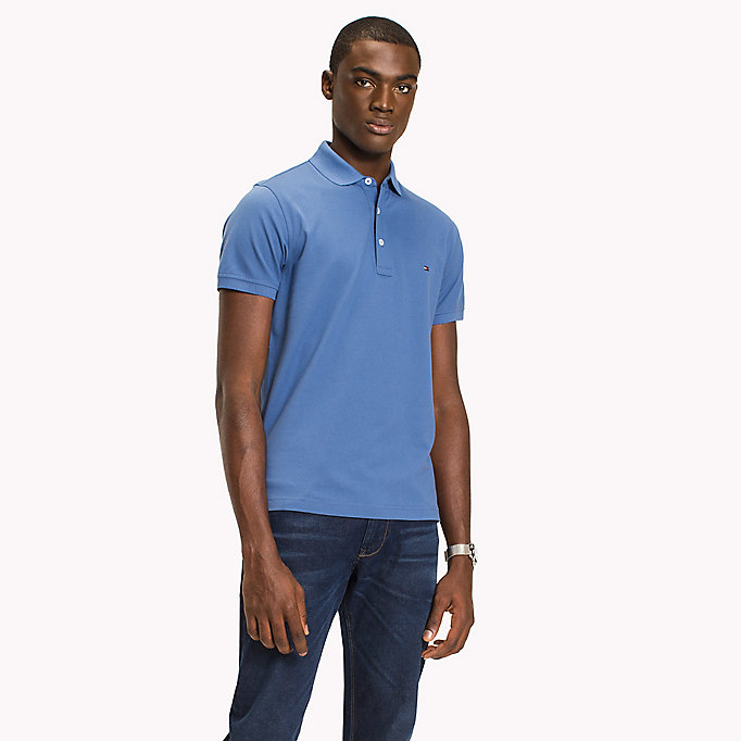 TOMMY HILFIGER Cotton Slim Fit Polo Shirt - BLUE PRINT - TOMMY HILFIGER Men - main image
