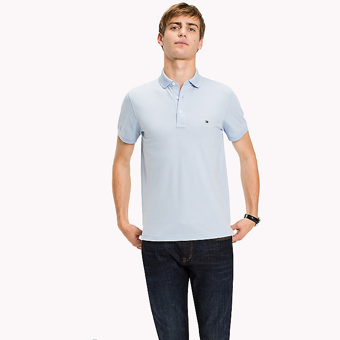 TOMMY HILFIGER Cotton Slim Fit Polo Shirt - DUTCH BLUE - TOMMY HILFIGER Men - main image