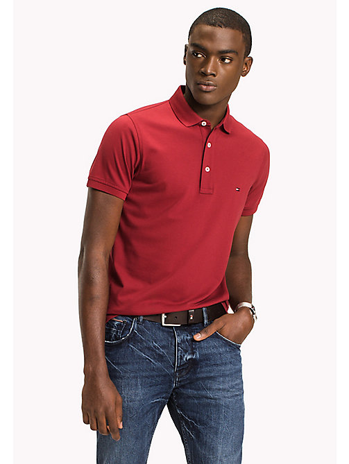 TOMMY HILFIGER Slim Fit-Polohemd aus Baumwolle - RHUBARB - TOMMY HILFIGER Poloshirts - main image