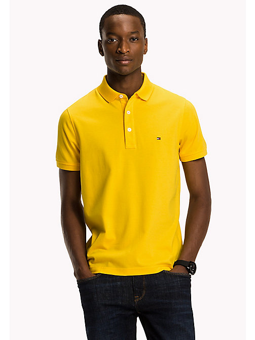TOMMY HILFIGER Katoenen slim fit polo - LEMON - TOMMY HILFIGER Polo's - main image