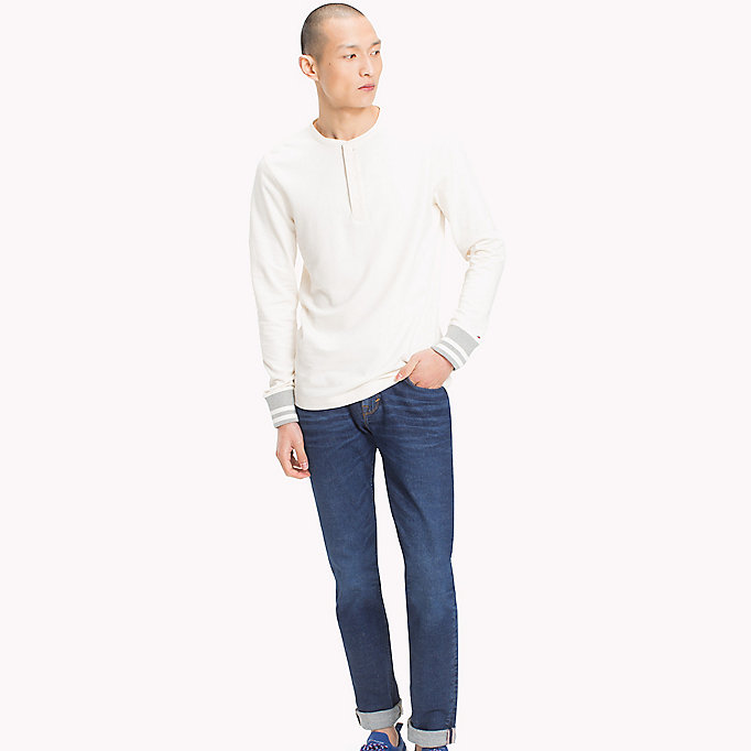 TOMMY HILFIGER French Terry Henley - CLOUD HTR - TOMMY HILFIGER Men - main image