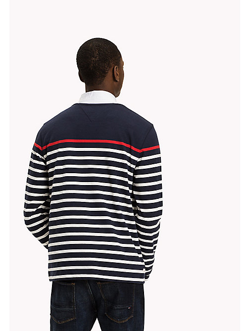 TOMMY HILFIGER Striped Crew Neck Jumper - NAVY BLAZER / SNOW WHITE / BARBADOS CHER - TOMMY HILFIGER Men - detail image 1