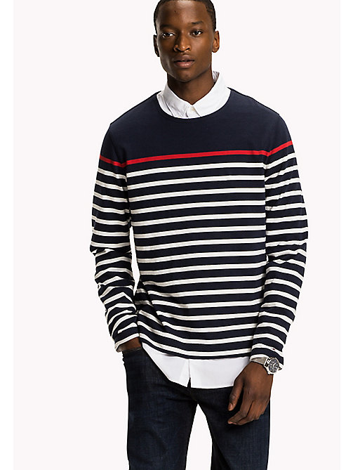 TOMMY HILFIGER Striped Crew Neck Jumper - NAVY BLAZER / SNOW WHITE / BARBADOS CHER - TOMMY HILFIGER Men - main image