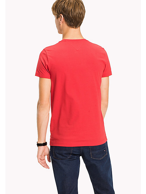 TOMMY HILFIGER Flag Slim Fit T-Shirt - HAUTE RED - TOMMY HILFIGER Clothing - detail image 1
