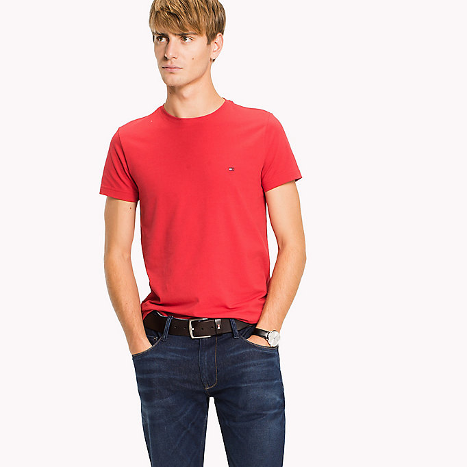 TOMMY HILFIGER Flag Slim Fit T-Shirt - CINNAMON STICK - TOMMY HILFIGER Clothing - main image