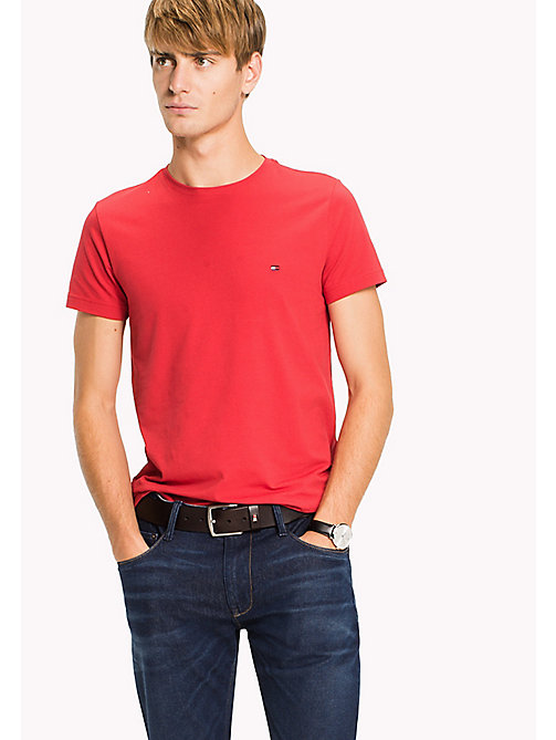 TOMMY HILFIGER Flag Slim Fit T-Shirt - HAUTE RED - TOMMY HILFIGER Clothing - main image