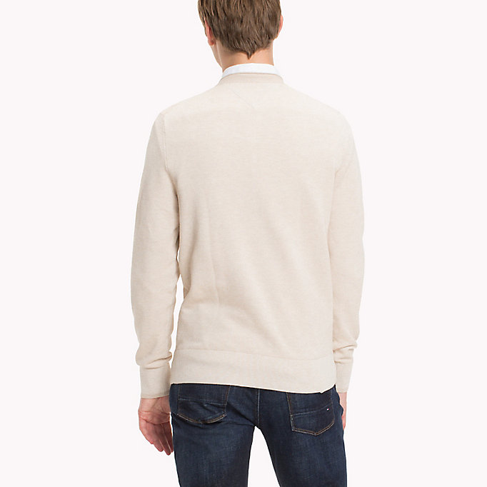 TOMMY HILFIGER Textured Cotton Jumper - FOUR LEAF CLOVER HTR - TOMMY HILFIGER Clothing - detail image 1