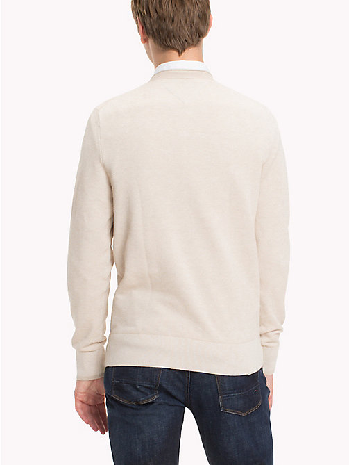 TOMMY HILFIGER Textured Cotton Jumper - OYSTER GRAY HEATHER - TOMMY HILFIGER Knitwear - detail image 1