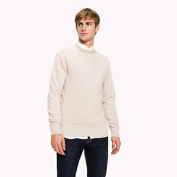 TOMMY HILFIGER Textured Cotton Jumper - FOUR LEAF CLOVER HTR - TOMMY HILFIGER Clothing - main image