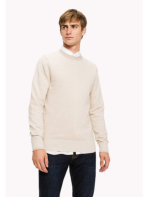 TOMMY HILFIGER Textured Cotton Jumper - OYSTER GRAY HEATHER - TOMMY HILFIGER Knitwear - main image