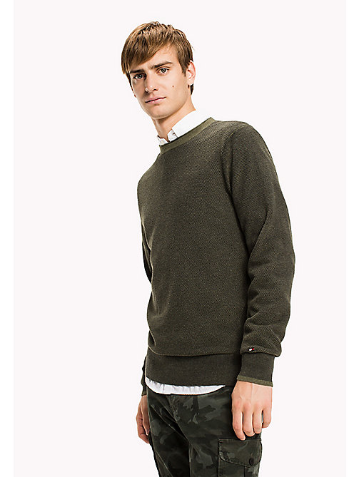 TOMMY HILFIGER Textured Cotton Jumper - FOUR LEAF CLOVER HTR - TOMMY HILFIGER Knitwear - main image