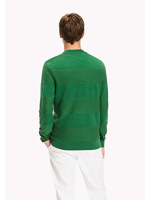 TOMMY HILFIGER Block Striped Jumper - JOLLY GREEN HEATHER - TOMMY HILFIGER Knitwear - detail image 1
