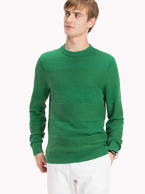 TOMMY HILFIGER Block Striped Jumper - JOLLY GREEN HEATHER - TOMMY HILFIGER Knitwear - main image