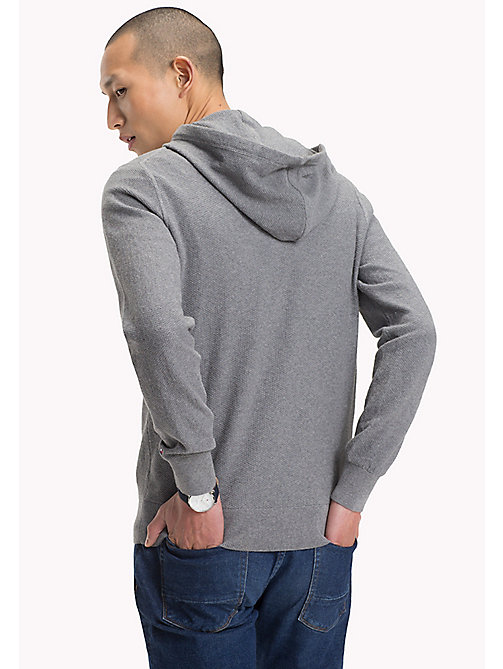 TOMMY HILFIGER Textured Cotton Cashmere Hoodie - SILVER FOG HTR - TOMMY HILFIGER Clothing - detail image 1