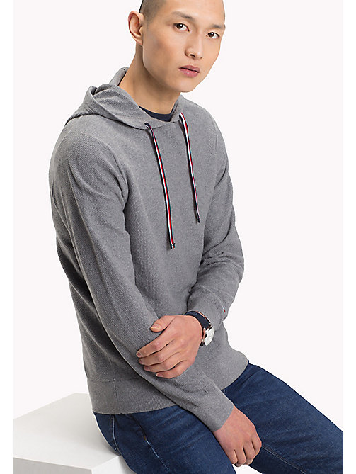 TOMMY HILFIGER Textured Cotton Cashmere Hoodie - SILVER FOG HTR - TOMMY HILFIGER Clothing - main image
