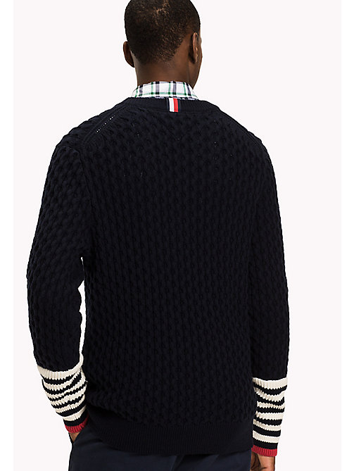 TOMMY HILFIGER Striped Crew Neck Jumper - SKY CAPTAIN - TOMMY HILFIGER Knitwear - detail image 1