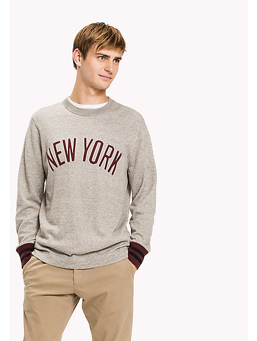 TOMMY HILFIGER Cotton Crew Neck Jumper - FROST GREY HEATHER - TOMMY HILFIGER Clothing - main image