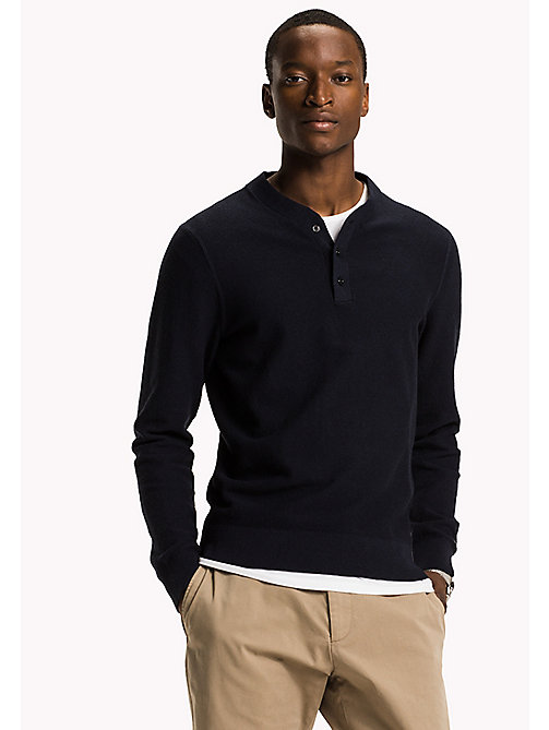 TOMMY HILFIGER Cotton Cashmere Henley - SKY CAPTAIN HEATHER - TOMMY HILFIGER Clothing - main image