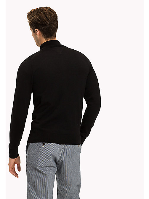 TOMMY HILFIGER Cotton Silk Zip Jumper - JET BLACK - TOMMY HILFIGER Clothing - detail image 1