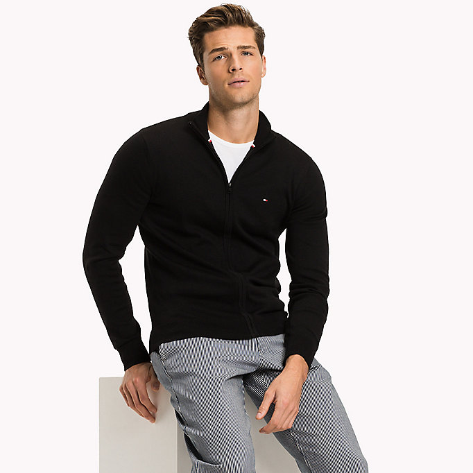 TOMMY HILFIGER Cotton Silk Zip Jumper - DARK DENIM HEATHER - TOMMY HILFIGER Clothing - main image