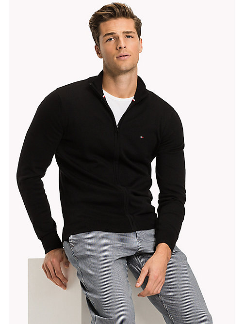 TOMMY HILFIGER Cotton Silk Zip Jumper - JET BLACK - TOMMY HILFIGER Jumpers - main image