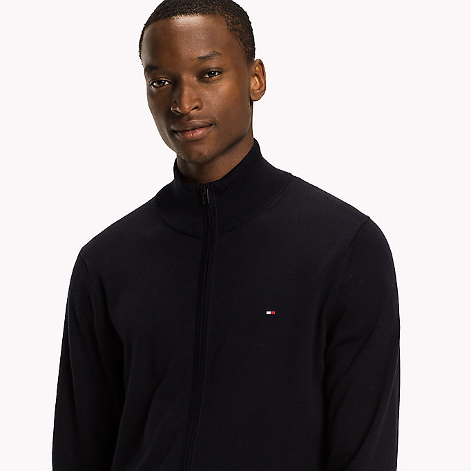 TOMMY HILFIGER Cotton Silk Zip Jumper - JET BLACK - TOMMY HILFIGER Clothing - detail image 2