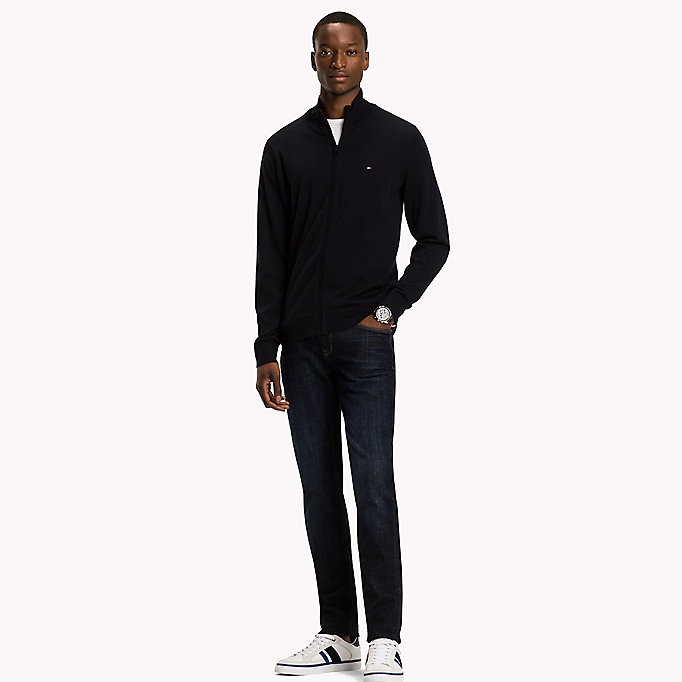 TOMMY HILFIGER Cotton Silk Zip Jumper - JET BLACK - TOMMY HILFIGER Clothing - main image