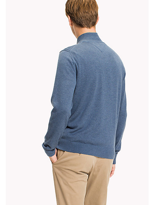 TOMMY HILFIGER Cotton Silk Zip Jumper - DARK DENIM HEATHER - TOMMY HILFIGER Pulls - image détaillée 1