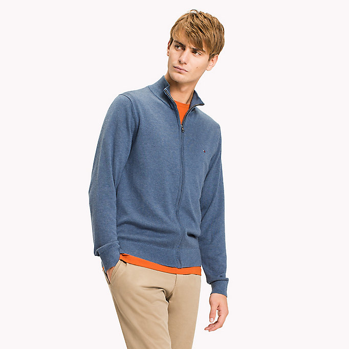 TOMMY HILFIGER Cotton Silk Zip Jumper - CLOUD HTR - TOMMY HILFIGER Clothing - main image