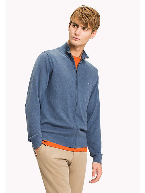 TOMMY HILFIGER Cotton Silk Zip Jumper - DARK DENIM HEATHER - TOMMY HILFIGER Pulls - image principale