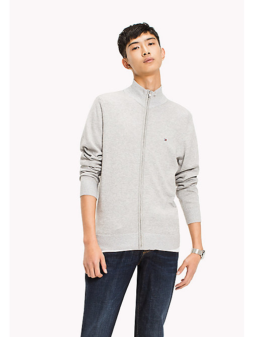 TOMMY HILFIGER Cotton Silk Zip Jumper - CLOUD HTR - TOMMY HILFIGER Pulls - image principale