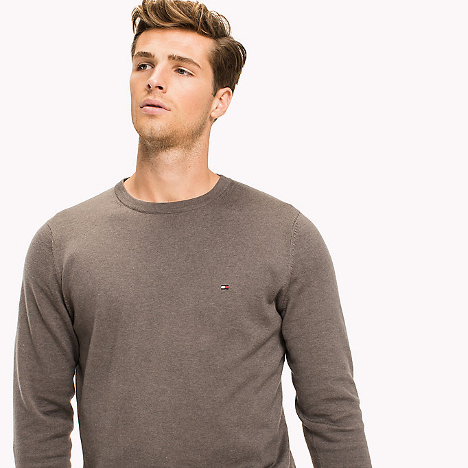 TOMMY HILFIGER Cotton Silk Crew Neck Jumper - SILVER FOG HTR - TOMMY HILFIGER Clothing - detail image 2