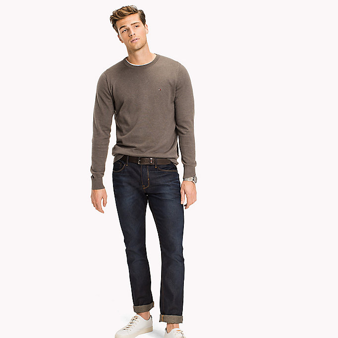 TOMMY HILFIGER Cotton Silk Crew Neck Jumper - SILVER FOG HTR - TOMMY HILFIGER Clothing - main image